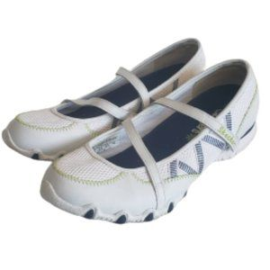 Skechers white leather mary jane flats